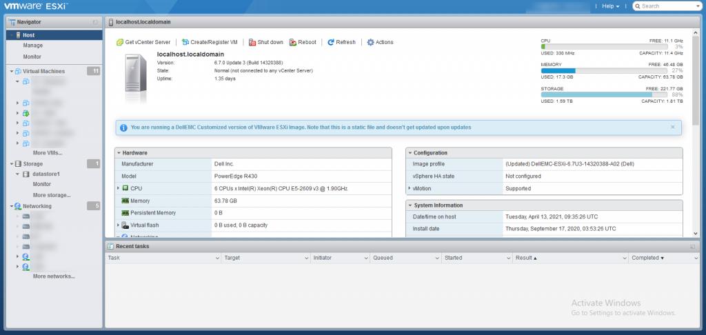 giao diện dashboard ESXi 6.7